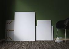 Modello dei manifesti in bianco sul pavimento illustrazione 3D Fotografia Stock