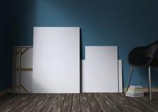 Modello dei manifesti in bianco sul pavimento illustrazione 3D Immagini Stock Libere da Diritti