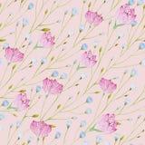 Modello dei ramoscelli sottili dell'acquerello con i fiori blu e rosa su un fondo rosa illustrazione vettoriale