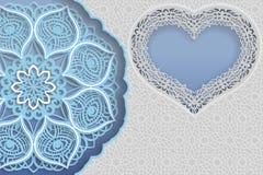 Modello dei saluti o degli inviti di nozze 3D mandala, struttura in forma di cuore con i bordi del pizzo, superficie con un model Immagine Stock Libera da Diritti