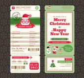Modello del biglietto del passaggio di imbarco di progettazione di cartolina di Natale Immagine Stock