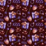 Modello del biglietto di S. Valentino dell'acquerello illustrazione di stock