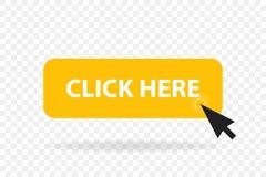 Modello del bottone di web di clic La barra gialla di vettore, mouse del computer clicca qui il cursore illustrazione vettoriale