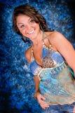 Modello del Brunette in azzurro Fotografia Stock