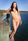 Modello del Brunette in bikini verde Fotografie Stock Libere da Diritti