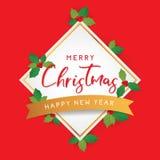 Modello del buon anno e di Natale su fondo rosso Immagine Stock