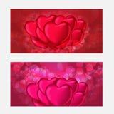 Modello del buono della carta di regalo di giorno di biglietti di S. Valentino Su bello fondo con i cuori e su spazio per il vost Fotografia Stock