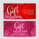 Modello del buono della carta di regalo di giorno di biglietti di S. Valentino Su bello fondo con i cuori e su spazio per il vost Fotografie Stock