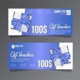 Modello del buono di regalo con il nastro blu ed il contenitore di regalo illustrazione di stock