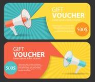 Modello del buono di regalo per il vostro affare Megafono e discorso B Fotografia Stock