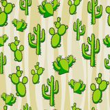 Modello del cactus Fondo senza cuciture immagini stock