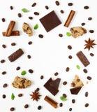 Modello del caffè con cioccolato fondente, cannella, anice Immagini Stock