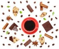 Modello del caffè con cioccolato fondente, cannella, anice Immagini Stock Libere da Diritti