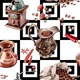 Modello del caffè in uno stile dell'acquerello Immagini Stock