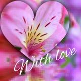 Modello del caleidoscope del cuore della carta di amore di alstromeria dei fiori Fotografia Stock