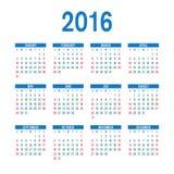 Modello 2016 del calendario Immagini Stock Libere da Diritti
