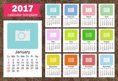 Modello 2017 del calendario Fotografie Stock Libere da Diritti