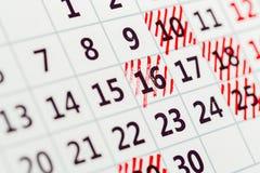Modello del calendario dell'organizzatore, contesto con Immagine Stock