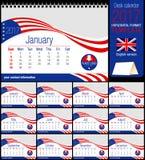 Modello 2017 del calendario della bandiera di U.S.A. del triangolo dello scrittorio Dimensione: 210mm x 150mm Formato A5 Immagine illustrazione di stock