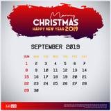 2019 modello del calendario di settembre Buon Natale e fondo rosso dell'intestazione del buon anno royalty illustrazione gratis