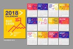 Modello del calendario per 2018 anni Disposizione di progettazione di vettore, affare Immagine Stock