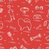 Modello del cane del chow-chow della siluetta, della ciotola, dell'osso, della spazzola, del pettine, dei giocattoli e di altri o illustrazione vettoriale