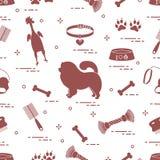 Modello del cane del chow-chow della siluetta, della ciotola, dell'osso, della spazzola, del pettine, dei giocattoli e di altri o illustrazione di stock
