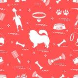 Modello del cane del chow-chow della siluetta, della ciotola, dell'osso, della spazzola, del pettine, dei giocattoli e di altri o royalty illustrazione gratis