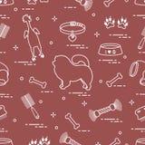 Modello del cane del chow-chow della siluetta, ciotola, osso, spazzola, pettine, a illustrazione di stock