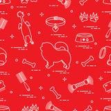 Modello del cane del chow-chow della siluetta, ciotola, osso, spazzola, pettine, a illustrazione vettoriale