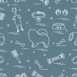 Modello del cane del chow-chow della siluetta, ciotola, osso, spazzola, pettine, a royalty illustrazione gratis