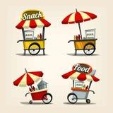 Modello del carretto dello spuntino dell'alimento della via del fumetto di vettore con stile operato compreso l'ombrello illustrazione vettoriale