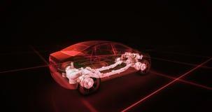 Modello del cavo dell'automobile sportiva con il fondo al neon rosso del nero del ob Fotografia Stock