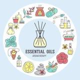 Modello del cerchio degli oli essenziali e di aromaterapia Fotografie Stock Libere da Diritti