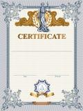 Modello del certificato con Femida Fotografie Stock