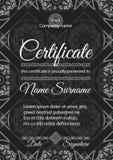 Modello del certificato con il modello senza cuciture ornamentale royalty illustrazione gratis