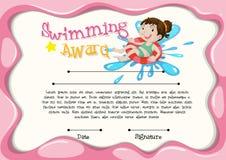 Modello del certificato con nuoto della ragazza illustrazione di stock