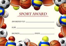 Modello del certificato per il premio di sport Immagine Stock