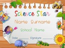 Modello del certificato per la stella di scienza Fotografie Stock Libere da Diritti