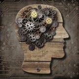 Modello del cervello dagli ingranaggi e dai denti arrugginiti del metallo Immagini Stock