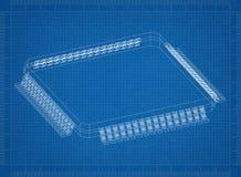 Modello del chip di computer 3D - illustrazione vettoriale
