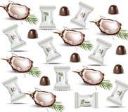 Modello del cioccolato della noce di cocco Progettazione di imballaggio di vettore Prodotto biologico sano, vettore naturale di n royalty illustrazione gratis