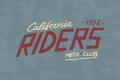 Modello del club del motociclista o del cavaliere Emblema su ordinazione d'annata, distintivo dell'etichetta per la maglietta Ret Immagine Stock
