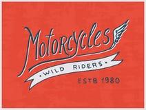 Modello del club del motociclista o del cavaliere Emblema su ordinazione d'annata, distintivo dell'etichetta per la maglietta Ret Fotografie Stock Libere da Diritti