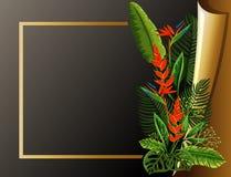 Modello del confine con la struttura ed i fiori dorati Fotografie Stock Libere da Diritti