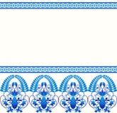 Modello del confine di stile di Gzhel Russo blu della porcellana Fotografia Stock