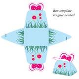 Modello del contenitore di regalo con la farfalla ed i fiori rosa Nessuna colla stata necessaria Immagini Stock