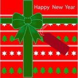 Modello del contenitore di regalo del fondo del buon anno illustrazione vettoriale