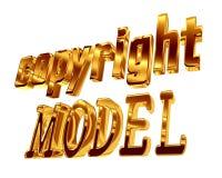 Modello del copyright del testo dell'oro su fondo bianco Immagini Stock