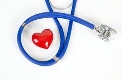 Modello del cuore e dello stetoscopio 3d Fotografia Stock Libera da Diritti